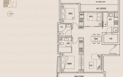 Jalan Dusun Gaia Condominium Type A - 3 Bedroom