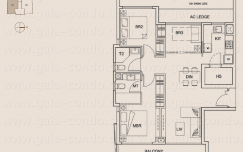 Jalan Dusun Gaia Condominium Type A2 - 3 Bedroom